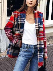 PMS Coats Same As Photo / s Casual Turndown Collar Plaid Long Sleeve Coat
