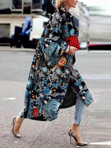 PMS Coats Same As Photo / s Elegant Fashion   Starry Sky Printed Long Sleeve Coat