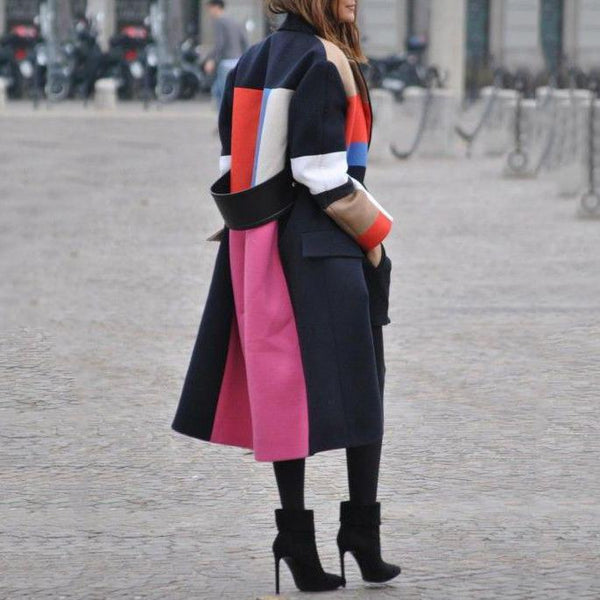 PMS Coats Same As Photo / s Fashion Color Matching Lapel Wool Coat