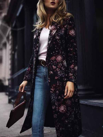 PMS Coats Same As Photo / s Fashion Elegant Slim Floral Long Sleeve   Coat