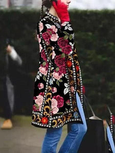 PMS Coats Same As Photo / s Fashion Floral Printed Long Sleeve Coat