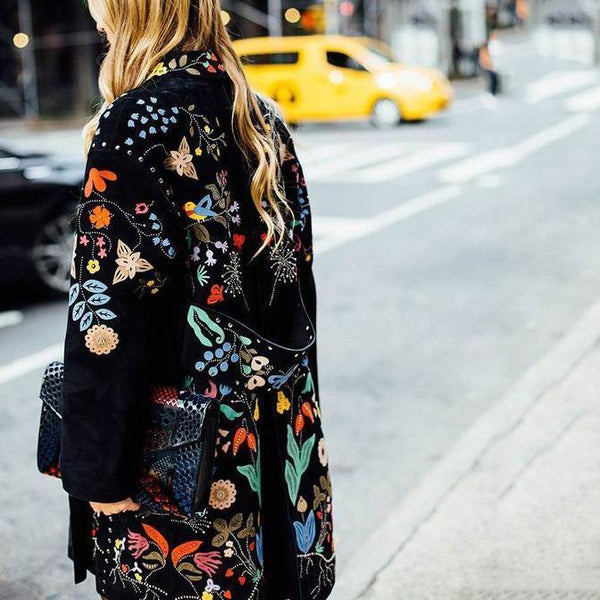 PMS Coats Same As Photo / s Fashion Flower Printed Lapel Collar Loose Coat