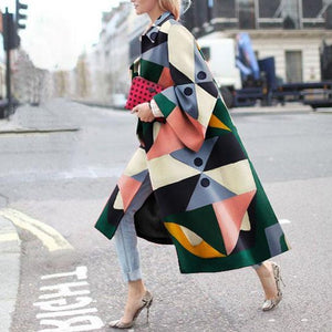 PMS Coats Same As Photo / s Fashion Geometry Printed Colorful Loose Woolen Long Coat
