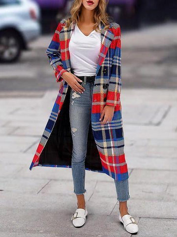 PMS Coats Same As Photo / s Fashion Lapel Collar Red Blue Check Printed Woolen Loose Long Coat