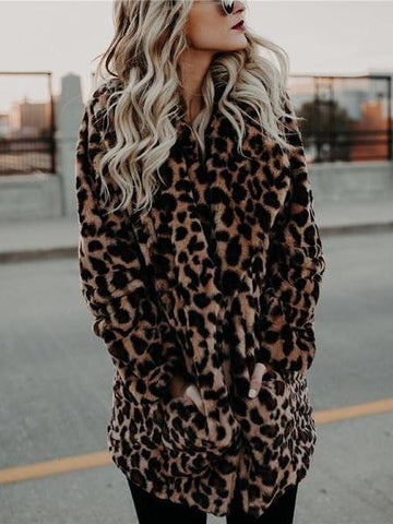 PMS Coats same_as_photo / s Fashion Leopard Print Collar Warm Coat