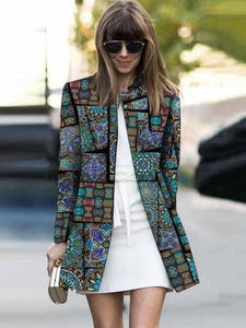 PMS Coats Same As Photo / s Fashion Printed Colour Long Sleeve Coat