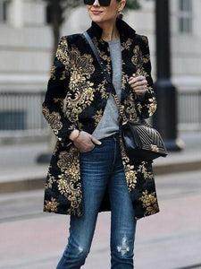 PMS Coats Same As Photo / s Fashion Printed Colour   Printed Long Sleeve Coat