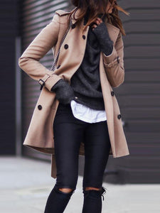 PMS Coats Same As Photo / s Fashion Turndown   Collar Pure Colour Long Sleeve Coat