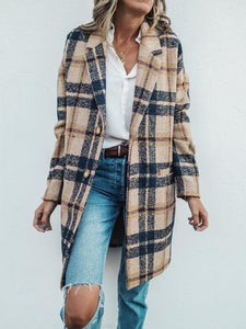 PMS Coats Same As Photo / s Vintage Lapel Collar Check Button Loose Woolen Long Coats