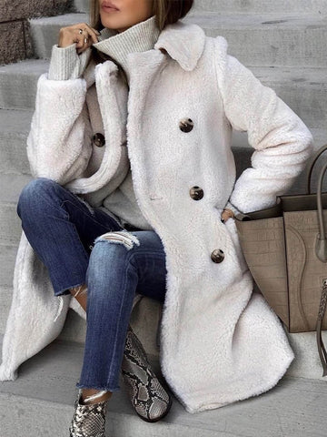 PMS Coats Same As Photo / S Winter Warm Solid Color Double-Breasted Long Outerwear