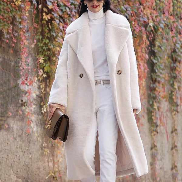 PMS Coats White / m Fashion Lapel Collar Plain Floss Two Buttons Long Coat