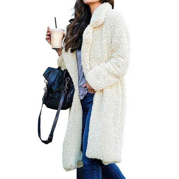 PMS Coats white / s Autumn And Winter Collared Lamb Velvet Pure Color Coat