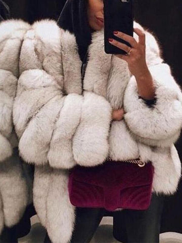 PMS Coats White / s Fashion Faux Fur Long Sleeve Coats