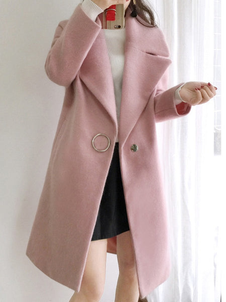PMS Coats White / s Lapel Single Button Plain Pocket Woolen Coat