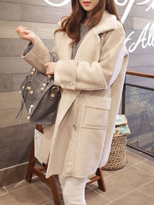 PMS Coats White / s Lapel  Zipper  Plain Coat