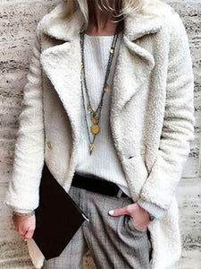 PMS Coats White / s Pure Color Velvety Lapel Warm Coat Style Coat