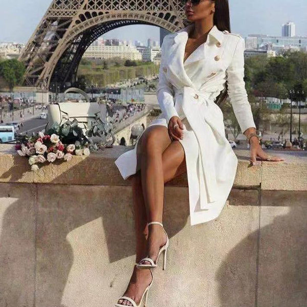 PMS Coats White / s Sexy V Collar Wide Lapel Plain Slim Waisted Long Sleeves Wind Coat Dress