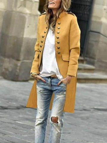 PMS Coats Yellow / s Fashion Pure Colour Long Sleeve Coat