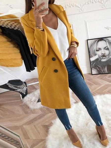 PMS Coats Yellow / s Lapel Long Sleeve Plain Button Pocket Casual Coats