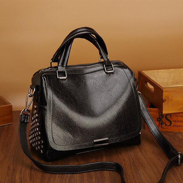 PMS Crossbody Bags Black / one size New Boston Single Shoulder Messenger Bag Rivet Wild Handbag
