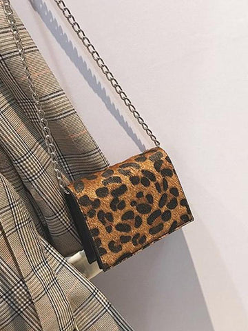 PMS Crossbody Bags Brown / one size New Fashion Wild Retro Leopard-Printed Chain Diagonal Shoulder Bag Handbag