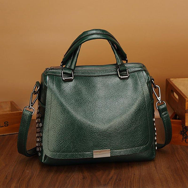 PMS Crossbody Bags Green / one size New Boston Single Shoulder Messenger Bag Rivet Wild Handbag