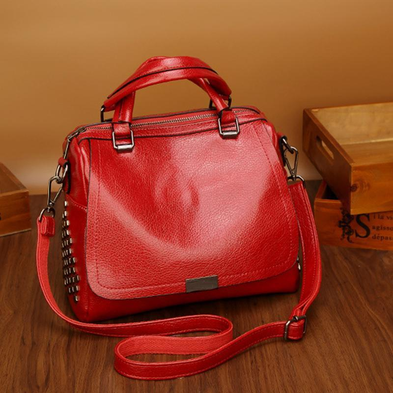 PMS Crossbody Bags Red / one size New Boston Single Shoulder Messenger Bag Rivet Wild Handbag