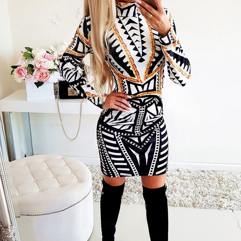 Ladies Stylish Turtleneck Print Bodycon Dress