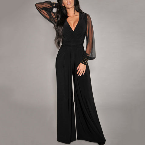Fashion V-neck mesh see-through sexy loose long-sleeved jumpsuit