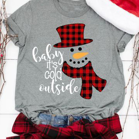 Women's Casual Christmas Snowman Print Round Neck Long Sleeve T-Shirt