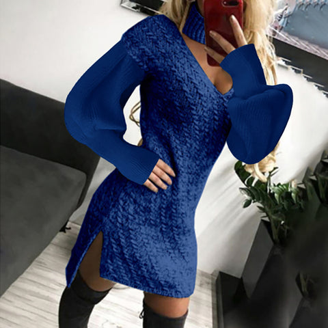 Women's Casual V-neck Solid Knit Split Dress