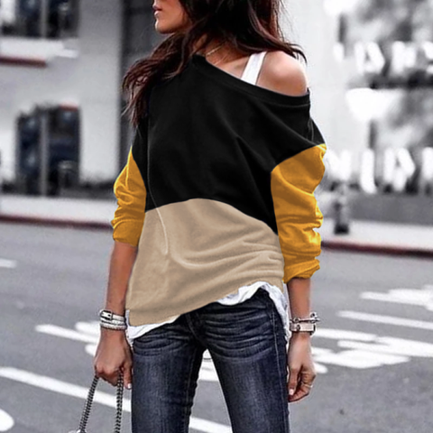 Casual Boat Neck Color matching Top