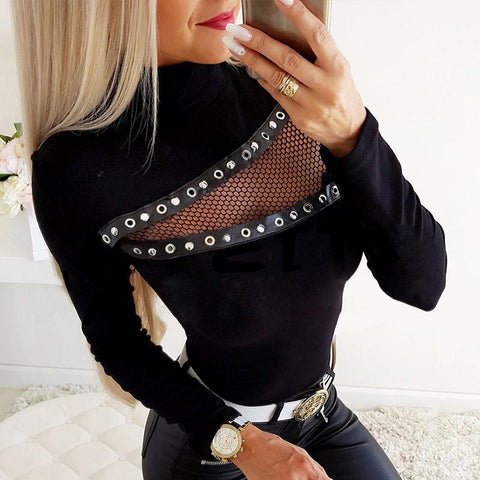 Finalpink Punk Sexy Hollow Out Rivet Long Sleeve T-shirt