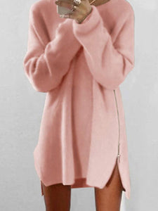 PMS Dress Pink / s Chic Plus Size Autumn Winter Knit Casual Zipper Sweater Dress