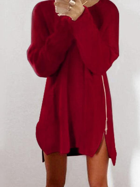 PMS Dress Red / s Chic Plus Size Autumn Winter Knit Casual Zipper Sweater Dress