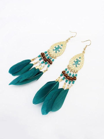 PMS Earrings Blue / one size Fashion   fringed feather earrings long accessories handmade earrings