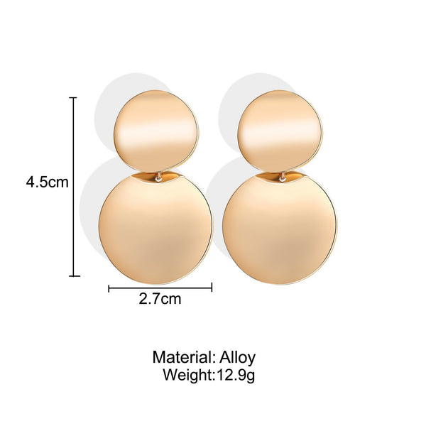 PMS Earrings Gold / one size Fashion   exaggerated big brand alloy simple earrings female