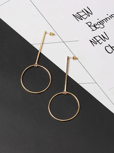 PMS Earrings Gold / one size Fashion Geometry Circle Earrings