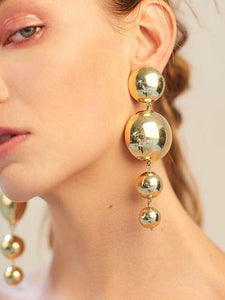 PMS Earrings Gold / one size Fashion New Round Ball Earrings