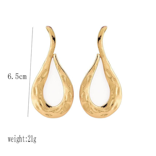 PMS Earrings Gold / one size Fashion   Personality Exaggerated Lava Metal Wind Women's Large Earrings Earrings