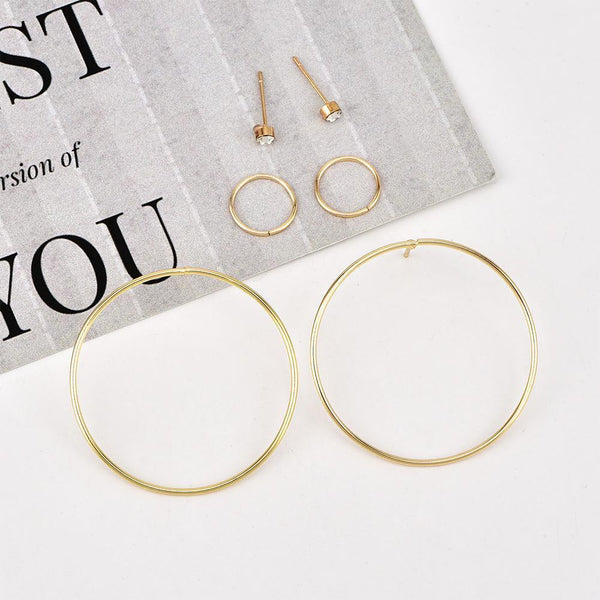 PMS Earrings Gold / one size Fashion Personality New Circle Women's Earrings Set
