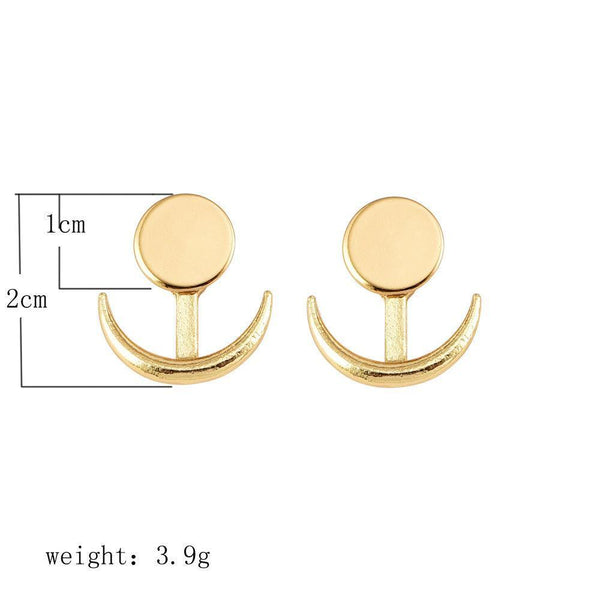 PMS Earrings Gold / one size Fashion Simple Generous Metal Crescent Rear Insert Female Earrings Street Shooting Personality