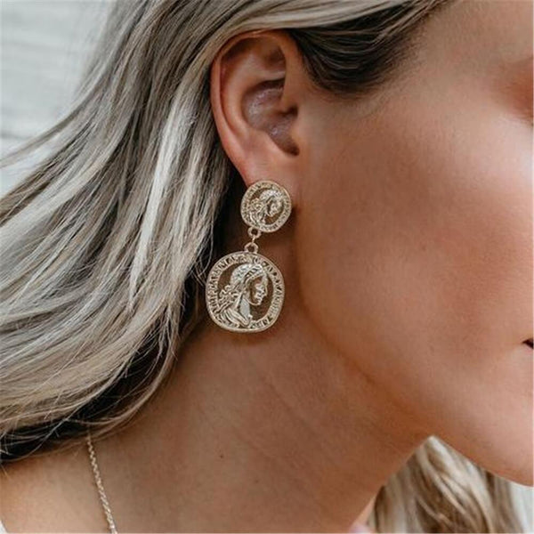 PMS Earrings Gold / one size Fashion Vintage Embossed Gold Coin Metal Earrings