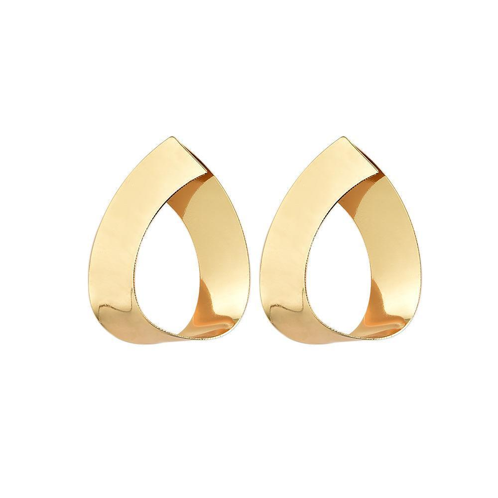 PMS Earrings Gold / one size New Fashion Jewelry Geometric Drop Metal Earrings