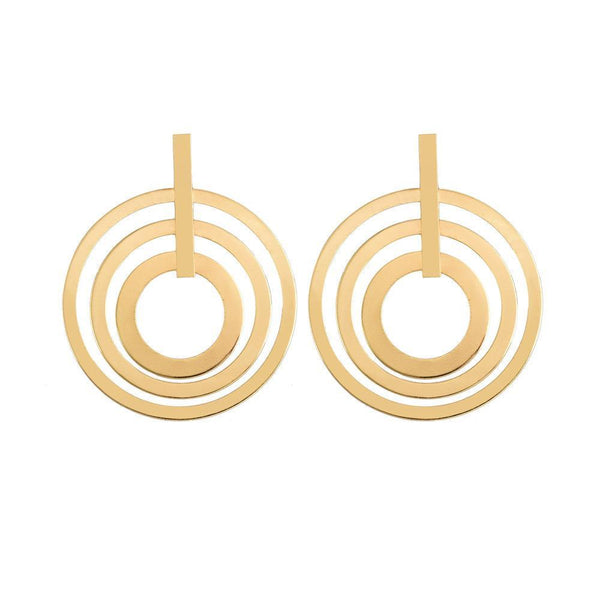 PMS Earrings Gold / one size Personality trend women's 3 circle earrings