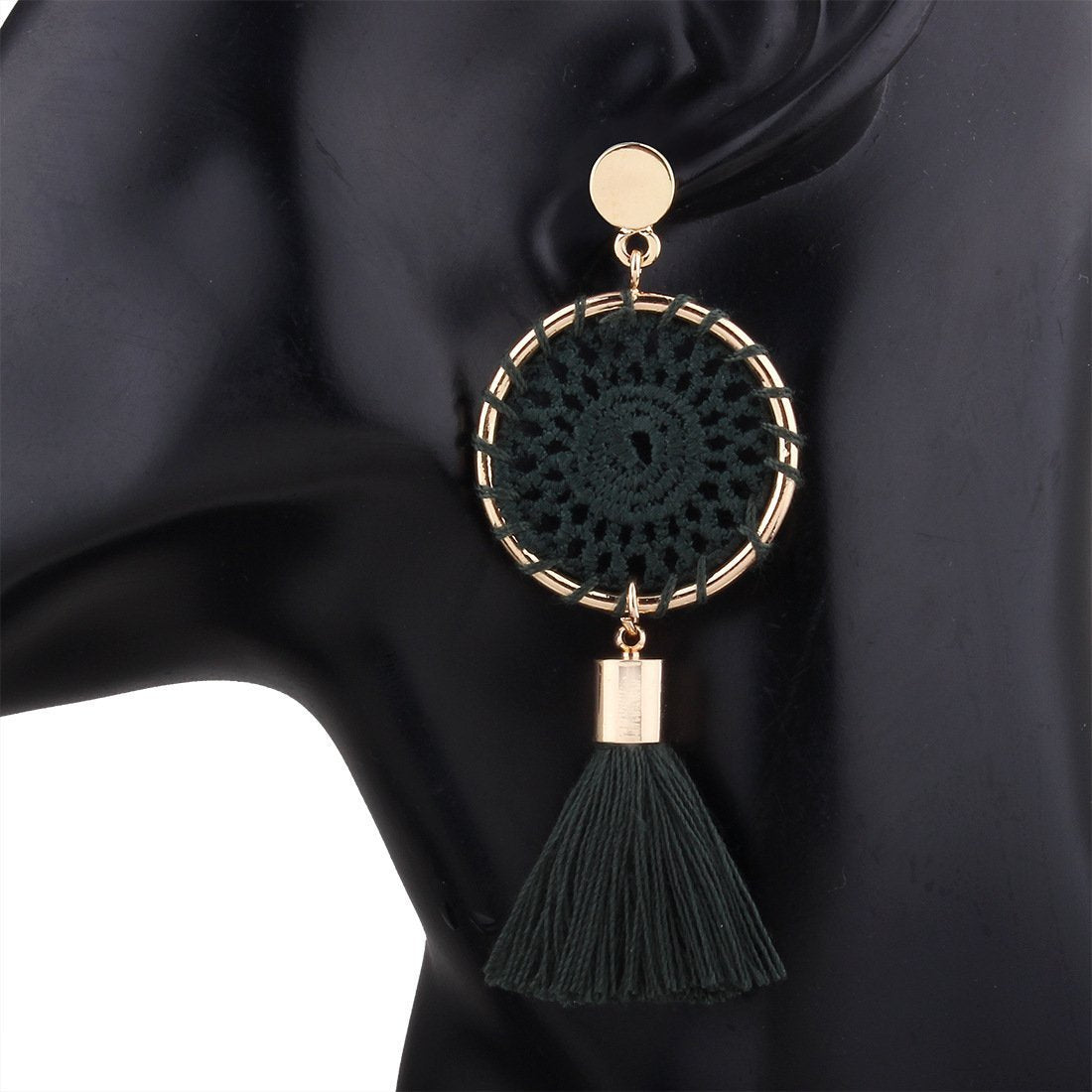 PMS Earrings Green / one size Knitted handmade fashion tassel long earrings