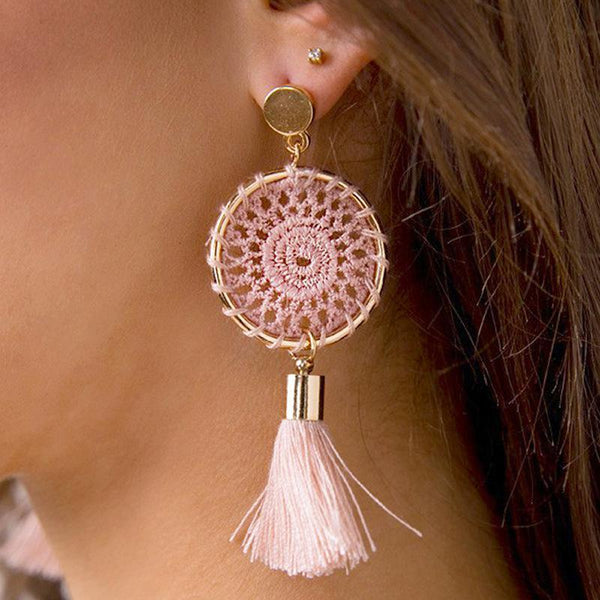 PMS Earrings Light Pink / one size Knitted handmade fashion tassel long earrings