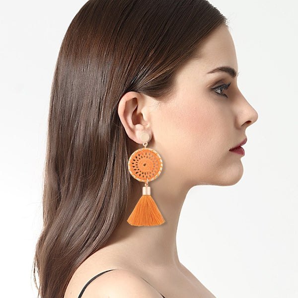PMS Earrings Orange Red / one size Knitted handmade fashion tassel long earrings