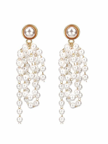 PMS Earrings Same As Photo / one size Fashion Pearl Tassel Earrings