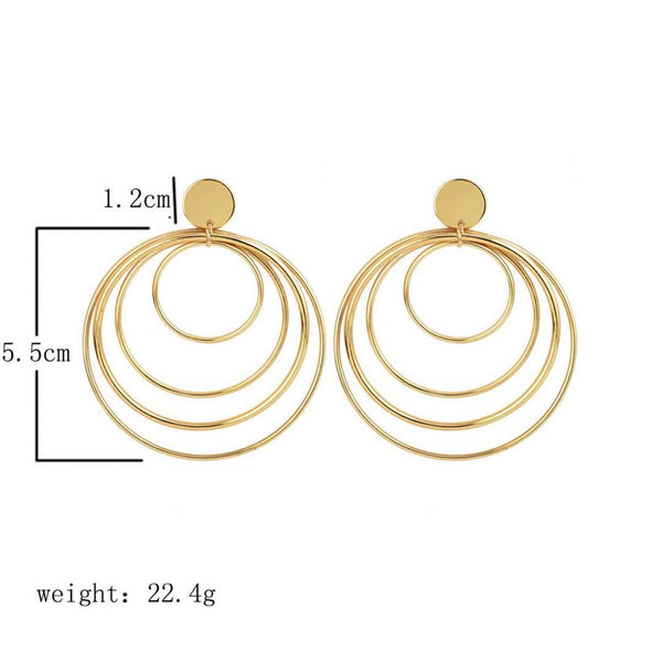 PMS Earrings Same As Photo / one size Fashion   Wild Multi-Layer Circle Earrings